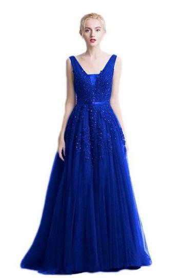 d56863abef64 královsky modré společenské šaty krajkové na ramínka tylové ...